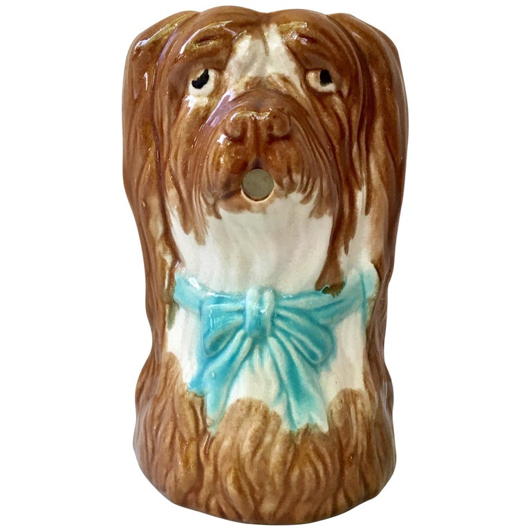 French Majolica Dog Pitcher, circa 1900 For Sale