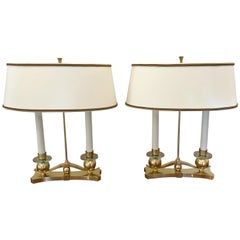 Pair of French Art Deco Table or Bouillotte Lamps