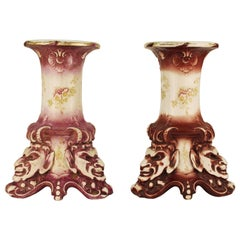 Victorian Alba China Ceramic Hand-Painted Pedestals in Grotesque Style