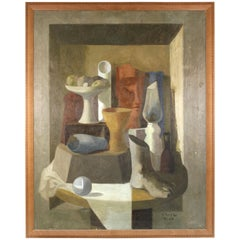 Enzo Russo Modernist Still Life Oil Painting