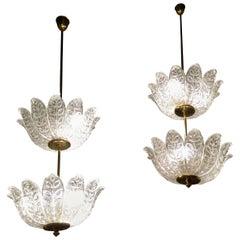 Scandinavian Pair of Chandeliers Crystal and Brass Flower Decor, circa 1940-1950