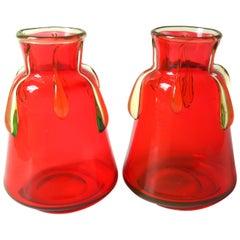 Late Victorian Harrach Orange-Red and Unranium Drip Vases