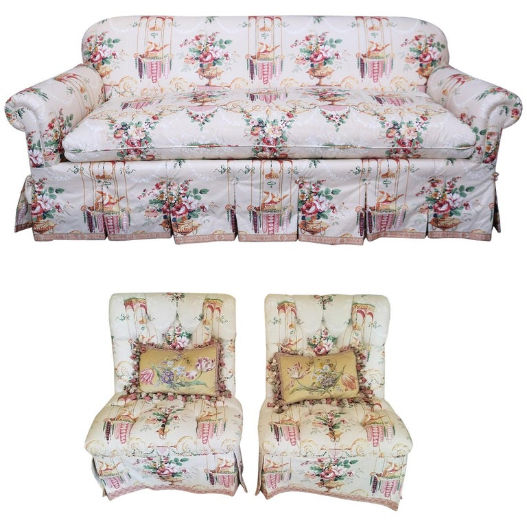Sofa And Pair Of Slipper Chairs In Floral Fabric For Sale