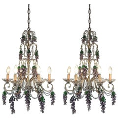 Pair of Italian Crystal Chandeliers Gilt Iron Frame and Murano Glass Grapes 1970