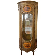 Louis XVI Style Painted Small and Round Vitrine, Display Cabinet