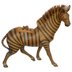 Chinese Woven Reed Zebra Trinket Box