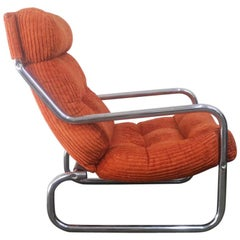 1970s German Midcentury Lounge Chair Upholstered in the Original Bright Orange