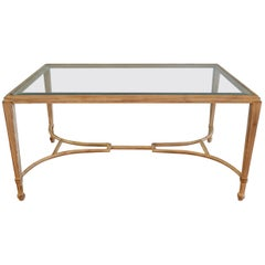 Classic Style, Modern Painted Heavy Metal Coffee Table with Beveled Glass Top