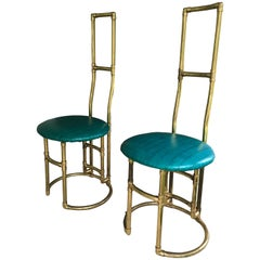 Pair of 1950s Parisian Brass Pipe and Crocodile Skin Side Chairs