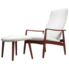 Danish Modern Teak Adjustable Lounge Chair and Ottoman by Søren Ladefoged