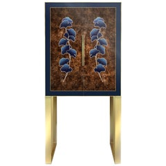 Whiskey Drink Cabinet in walnut burl and English oak Ginkgo leaf motif marquetry