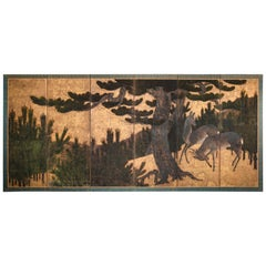 Japanese Six-Panel Screen, Buck and Doe in Pine Forest