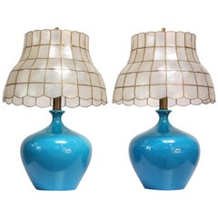 Pair of Vintage Ceramic Tables Lamps with Capiz Shell Shades