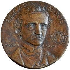 """Edgar Allan Poe"" Bronze Portrait Relief Issued by Grolier Club, 1909"