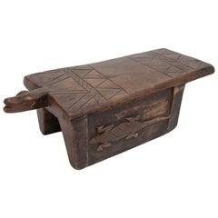 Tribal Wood Stool Lizard Motif, Fulani of Niger, Mid-Late 20th Century