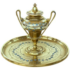 Fabulous Antique French Hand Engraved and Enameled Cast Brass Circular Inkstand