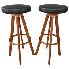 Pair of Hans Olsen Bar Stools for Frem Rojle Denmark