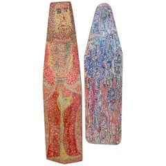 Pair of Outsider Art Painted Ironing Boards by Michael Heinrich