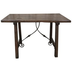 17th Century Rustic Spanish Sofa, Dining Table with Iron Hand Forged Starcher