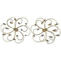Pair of Whimsical Twelve-Light Brass Flush Mounts