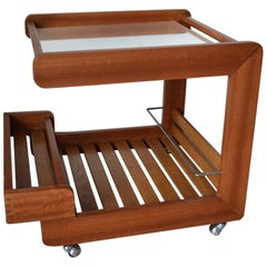Scandinavian Bar Cart / Trolley in Solid Teak with Mirrored Tray, 1970s