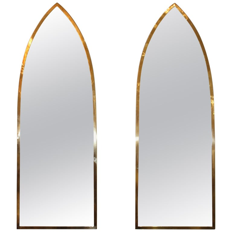 Mid-Century Modern Italian Brass Arched Frame Mirrors