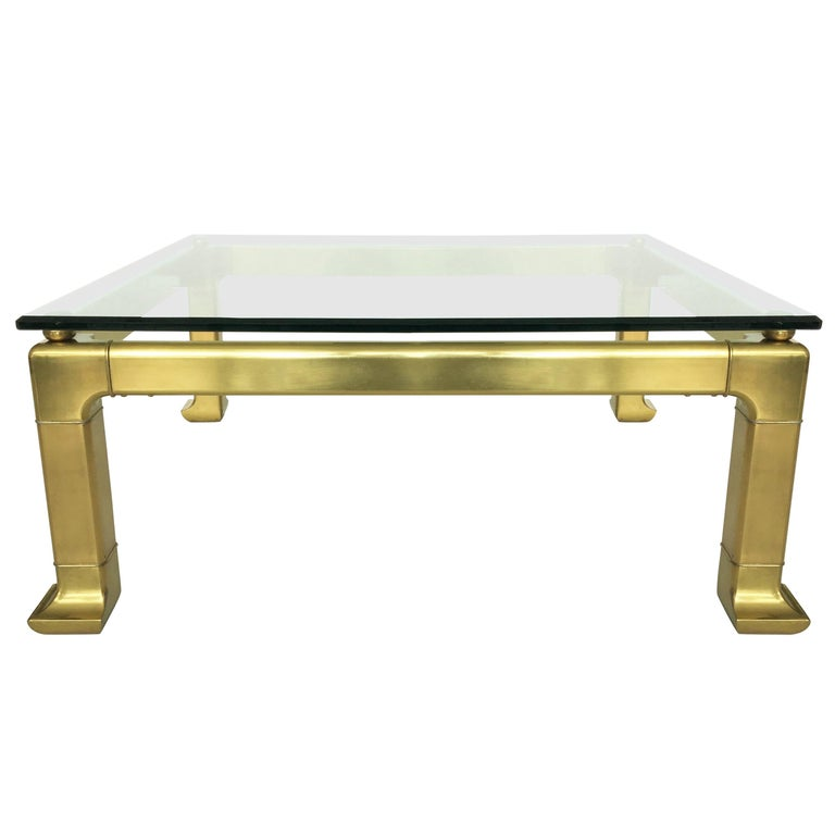 Modern Brass Coffee Table by Mastercraft with Glass Top
