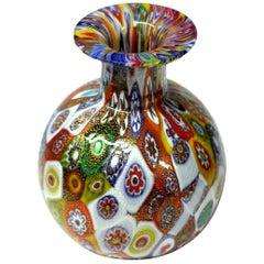 "Late 20th Century Venetian Murano Art Glass ""Golden Quilt"" Millefiori Small Vase"