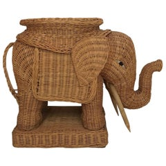 Midcentury Wicker Elephant, Side Table, Foot Stool