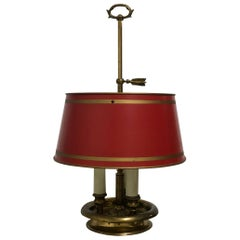 French Empire Style Bronze and Tole Bouillotte Lamp