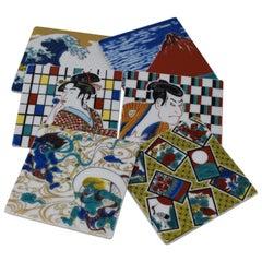 Japanese Kutani Porcelain Coasters, Set of Six