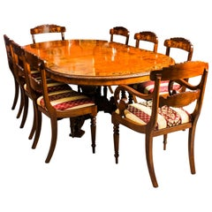 Antique Pollard Oak Victorian Dining Table 19th Century and Eight Bespoke Chairs