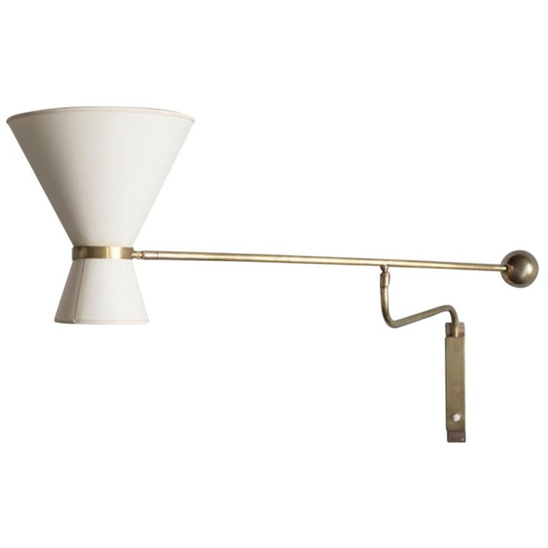Midcentury Brass Wall Lamp with Paper Shades