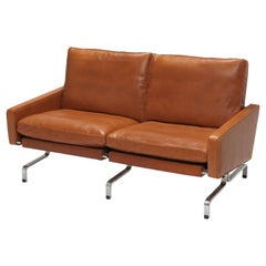 Cognac Leather PK 3 1/2 Sofa by Poul Kjærholm for E. Kold Christensen, 1960