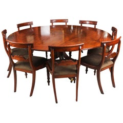 Vintage Mahogany Jupe Dining Table, Leaf Cabinet and Eight Chairs