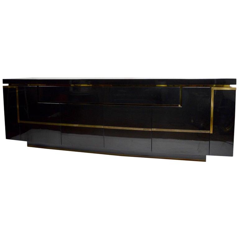 Roche Bobois Black Lacquer Sideboard Bar Credenza, Jean Claude Mahey For Sale