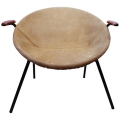 'The Balloon' Chair in Patinated Light Suede by Hans Olsen and Lea Design, 1960s