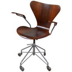Rare First Production Series Rosewood Arne Jacobsen Desk Chair