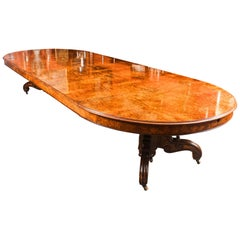 Antique Victorian Burr Walnut Marquetry Inlaid Dining Table 19th Century