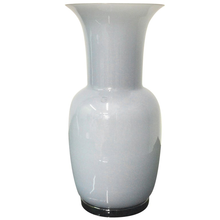 "Venini Murano ""Opalini"" Vase design Fulvio Bianconi white and dove gray glass"