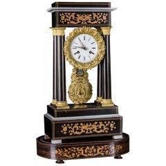 Biedermeier Chimney Clock with Inlays, circa 1860