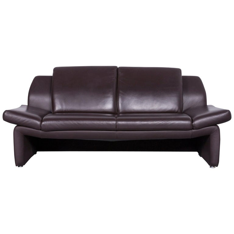 Laauser Designer Leather Sofa Brown Two-Seat Couch