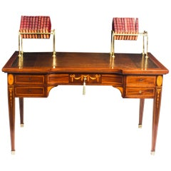 Antique Inlaid Writing Table Desk with Brass Book Troughs 19th Century
