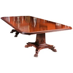 Antique George III Flame Mahogany Twin Pedestal Dining Table, 19th Century