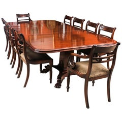 Antique George III Mahogany Twin Pedestal Dining Table 19th Century & Ten Chairs
