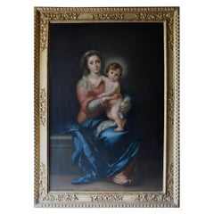 Large Finely Executed 19th Century Oil Painting of 'the Madonna & Child'