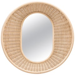 Curved and Design Rattan Mirror