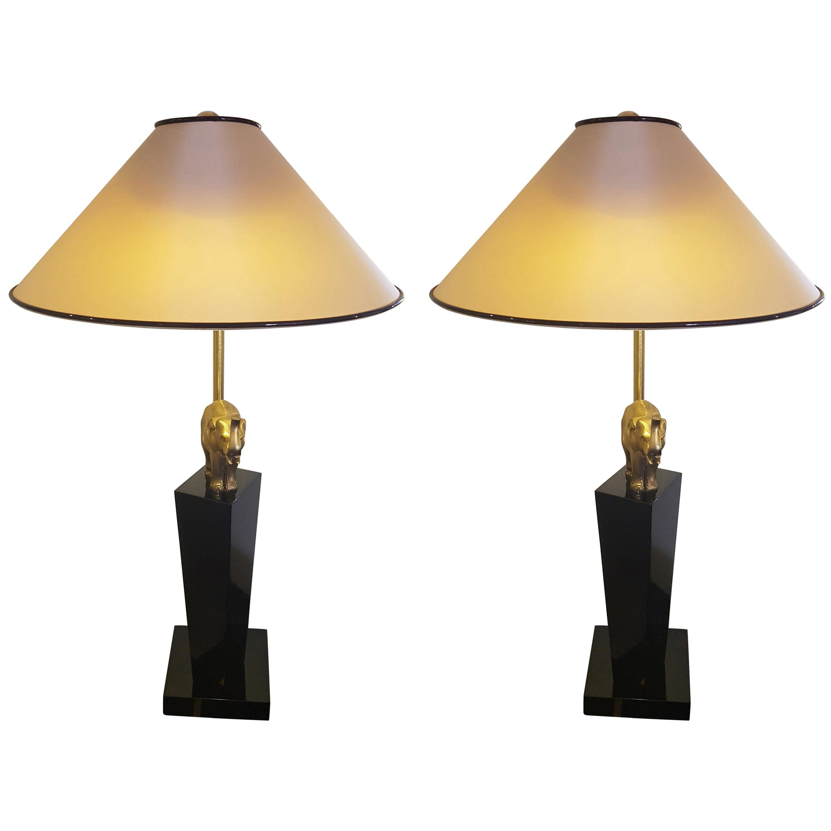 Ordinaire Pair Of Brass Elephant Table Lamps