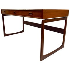 Danish Modern Flat Top Writing Desk Teak and Rosewood
