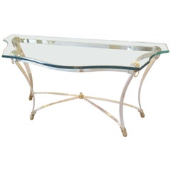 Curved Glass and Polished Steel Console Table with Lion Brass Details